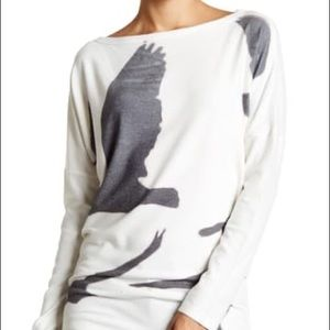 Go Couture Printed Dolman Tunic Sweater Size Large
